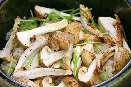 Foto de Matsutake gohan, rice cooked with matsutake mushroom, japanese food - Imagen libre de derechos