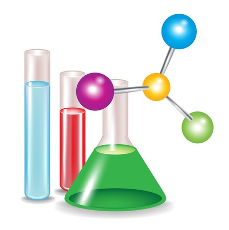 abstract molecules and chemical substance containers isolated