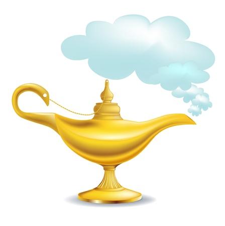 Illustrazione per golden magic lamp with cloud isolated - Immagini Royalty Free