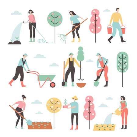 Illustration for People working in garden design elements and icons in flat style. - Royalty Free Image