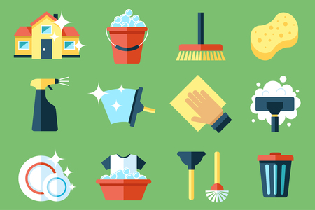 Illustration for Vector set of cleaning tools. Flat design style. - Royalty Free Image