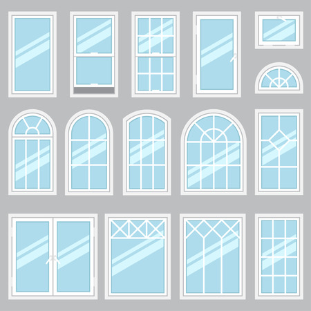 Ilustración de Vector collection of various windows types. For interior and exterior use. Flat style. - Imagen libre de derechos