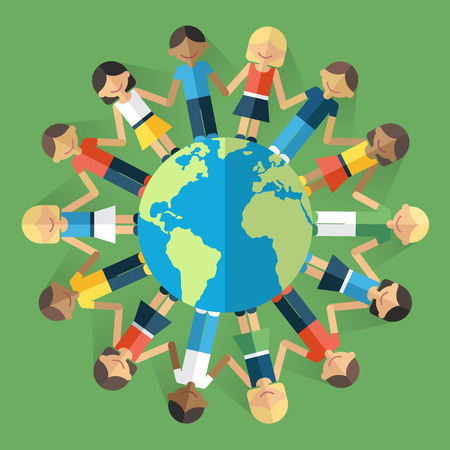 Illustration pour Vector illustration of happy people from all around the world standing on the globe and holding hands. Unity concept. Flat style. Eps 10. - image libre de droit