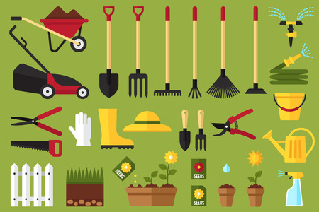 Illustration for Colorful vector set of garden icons: garden tools, equipment, planting process. Flat style. - Royalty Free Image
