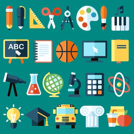 Photo pour Big vector collection of colorful school icons. Flat style. - image libre de droit