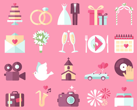 Photo pour Big vector collection of wedding icons on pink background. Flat style. - image libre de droit