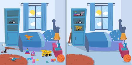 Illustration pour room clean and dirty vector illustration - image libre de droit