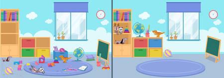 Ilustración de room clean and dirty vector illustration - Imagen libre de derechos