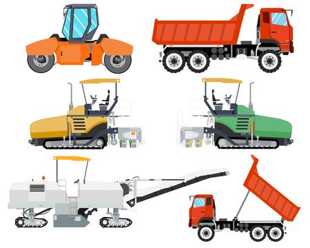 Illustration pour Heavy machinery for construction and repair of roads. Roadwork. Vector illustration - image libre de droit