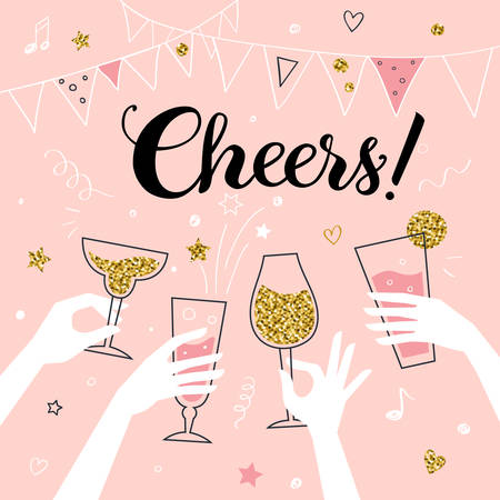 Ilustración de Cocktail party invitation concept template, hands of friends with alcohol drinks making toast vector illustration, Cheers! title - Imagen libre de derechos