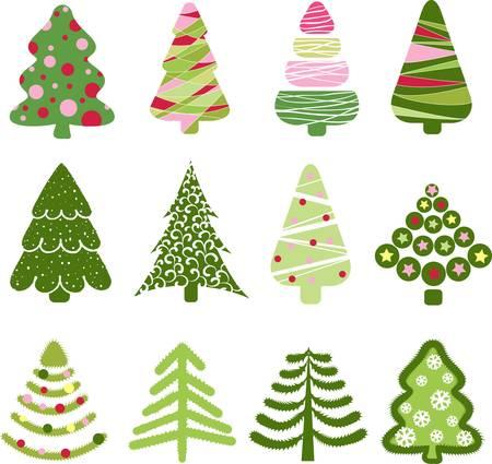 Christmas set tree. Elements for design