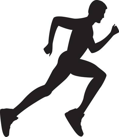 Silhouette of a healthy man running