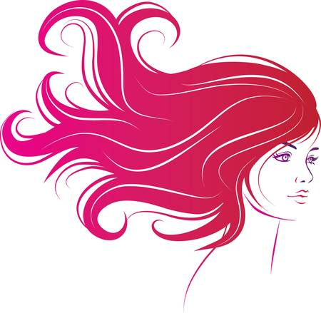 Illustration for woman face with long decorative black hair - Royalty Free Image