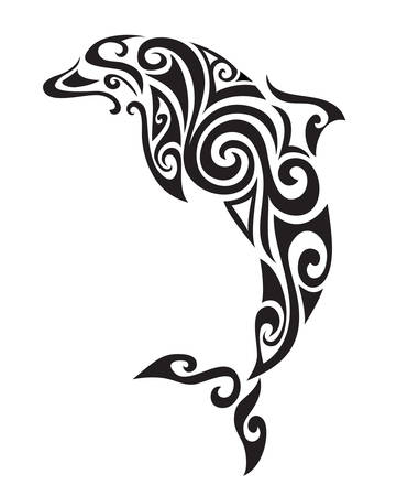 Illustration for Decorative ornamental dolphin silhouette. vector illustration background. - Royalty Free Image