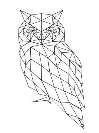 Ilustración de Decorative poligonal owl silhouette. vector illustration background. - Imagen libre de derechos