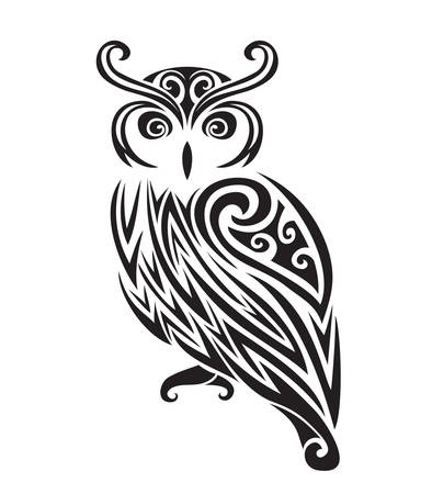 Illustration for Decorative ornamental owl silhouette. vector illustration background. - Royalty Free Image