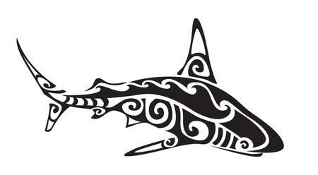 Ilustración de Ornamental decorative shark tattoo. Creative sticker for design. Vector illustration - Imagen libre de derechos