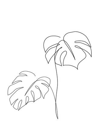 Ilustración de Monstera leaf line art. Contour drawing. Minimalism art. Modern decor. - Imagen libre de derechos