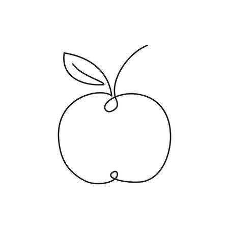 Ilustración de Apple icon. Single line drawing art - Imagen libre de derechos