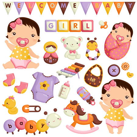 Photo pour Baby Girl Vector Set - image libre de droit