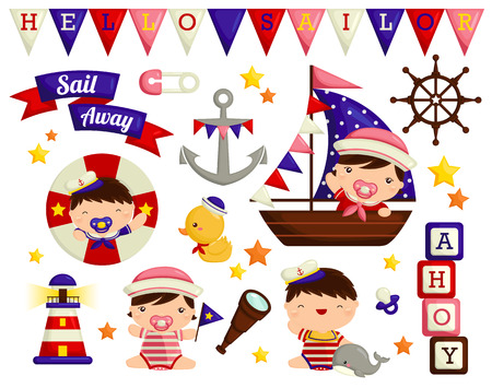 Photo pour Nautical baby Vector Set - image libre de droit