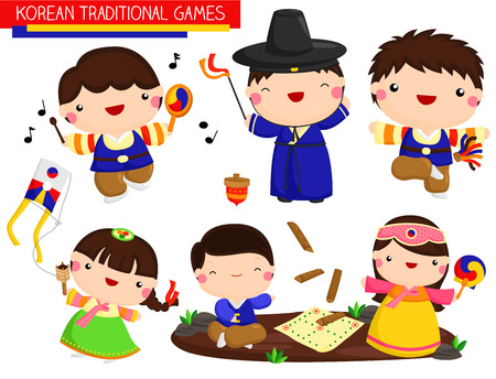 Illustration pour Korean Traditional Games Vector Set - image libre de droit