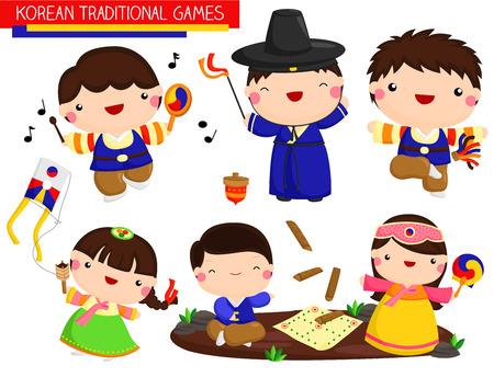 Illustration for Korean Traditional Games Vector Set - Royalty Free Image