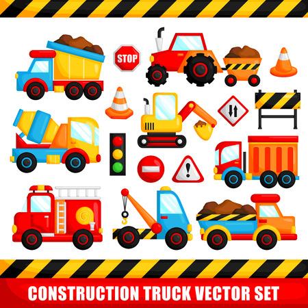 Illustration pour Construction Truck Vector Set - image libre de droit