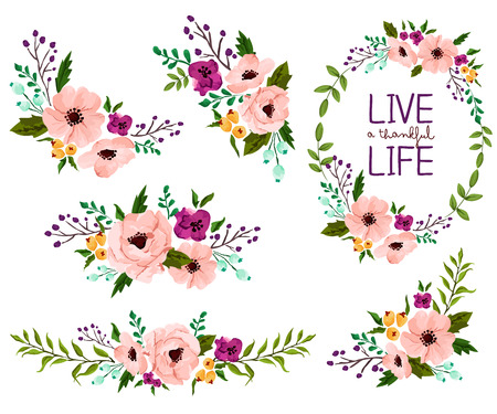 Illustration pour Flower Watercolor Vector Set - image libre de droit