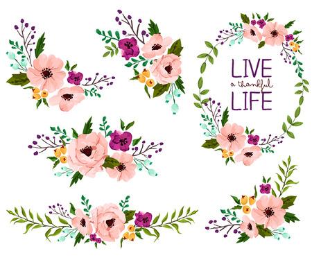 Ilustración de Flower Watercolor Vector Set - Imagen libre de derechos