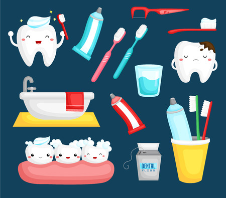 Illustration for Teeth and toothbrush - Royalty Free Image