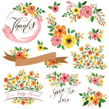 Foto de Yellow Orange Flower Watercolor Vector Set - Imagen libre de derechos