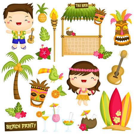 Illustration pour Hawaii Luau Kids Vector Set - image libre de droit