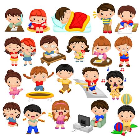 Illustration pour Kids daily activities - image libre de droit