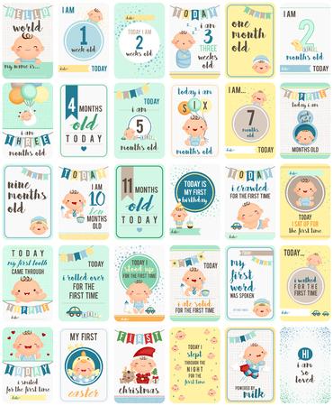 Photo for Baby Boy Milestone Cards - Royalty Free Image