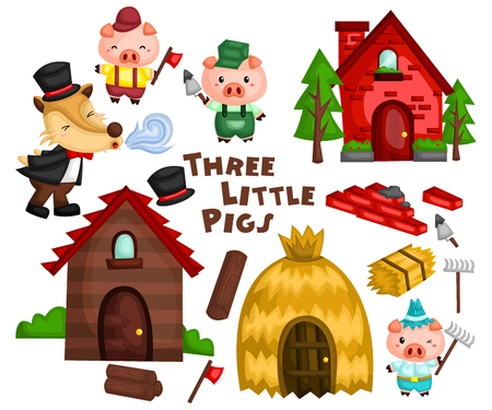 Illustrazione per the three little pigs in a set ready to be used - Immagini Royalty Free
