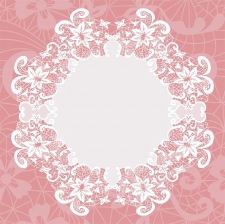 Illustration for Elegant doily on lace gentle background for scrapbooks - Royalty Free Image