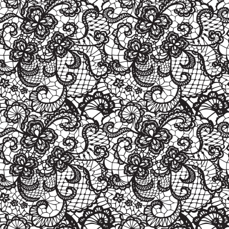Illustration pour Lace black seamless pattern with flowers on white background - image libre de droit