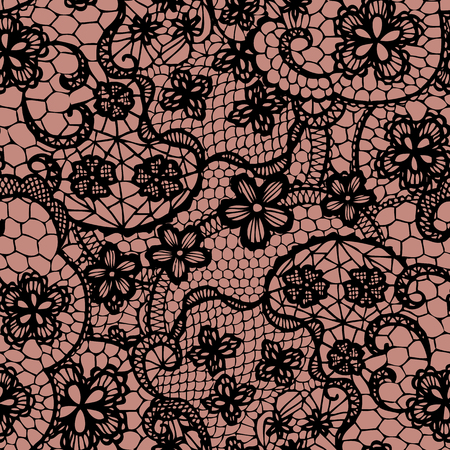 Illustration for Lace black seamless pattern with flowers  Vector illustration  - Royalty Free Image