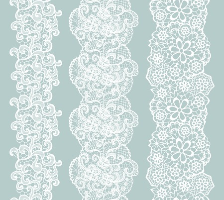 Illustration pour White lacy vintage elegant trim. Vector illustration. - image libre de droit