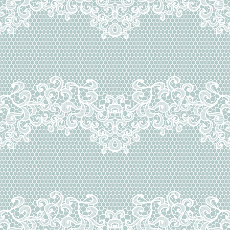 Illustration for White lace seamless pattern with flowers on blue background - Royalty Free Image