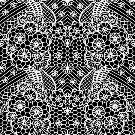 Illustration for White lacy seamless pattern with flowers on black background - Royalty Free Image