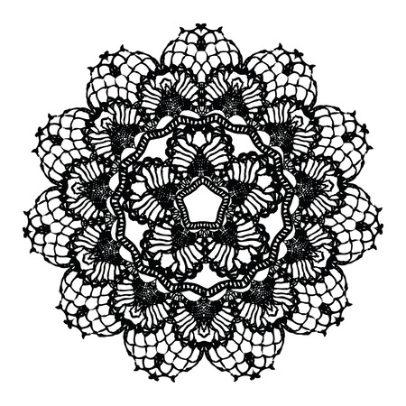 Illustration pour Black crochet doily. Vector illustration. May be used for digital scrapbooking. - image libre de droit