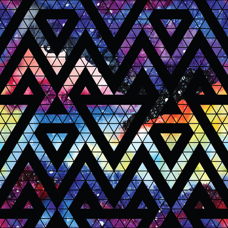 Illustration pour Galaxy seamless pattern with triangles and geometric shapes. Vector trendy illustration. - image libre de droit