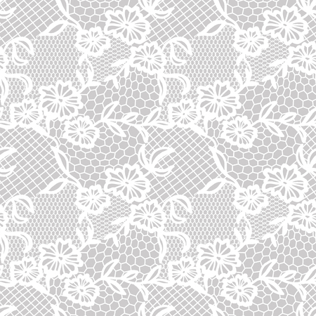 Illustration pour White lace seamless pattern with flowers on grey background - image libre de droit