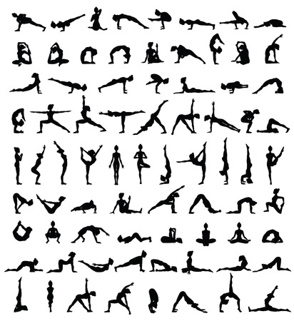 Illustrazione per Women silhouettes. Collection of yoga poses. Asana set. Vector illustration - Immagini Royalty Free