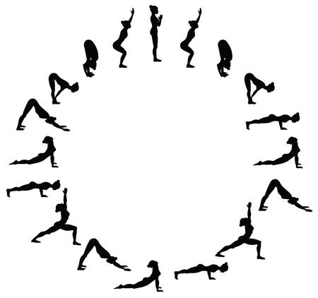 Illustration pour Sun salutation. Surya namaskara B. Yoga sequence. Vector illustration - image libre de droit
