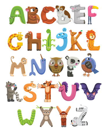 Ilustración de Zoo alphabet. Animal alphabet. Letters from A to Z. Cartoon cute animals isolated on white background - Imagen libre de derechos