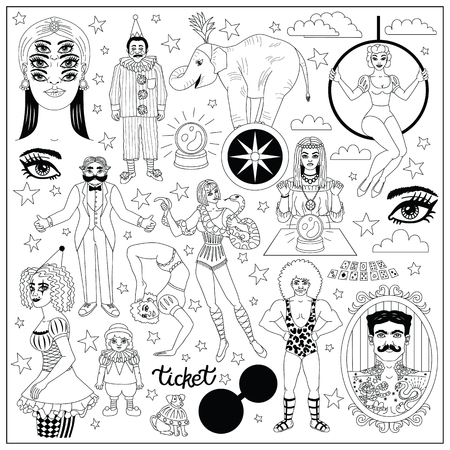 Illustration for Vintage circus illustrations collection. Flash tattoes set. Lineart illustrations for adult coloring book. - Royalty Free Image