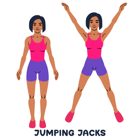 Illustration for Jumping Jack. Sport exersice. Silhouettes of woman doing exercise. Workout, training. - Royalty Free Image